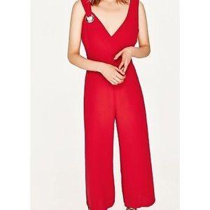 Zara Pants - Zara Red WideLeg Silver Eyelet Sleeveless Jumpsuit